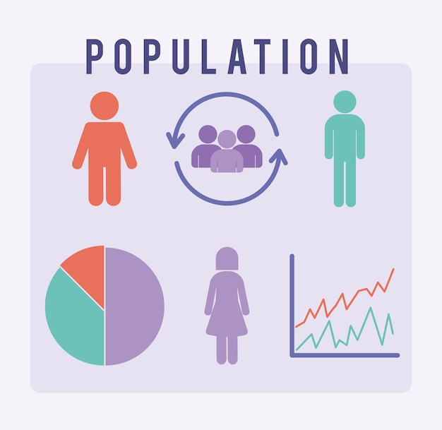 Set van zes bevolkingspictogrammen