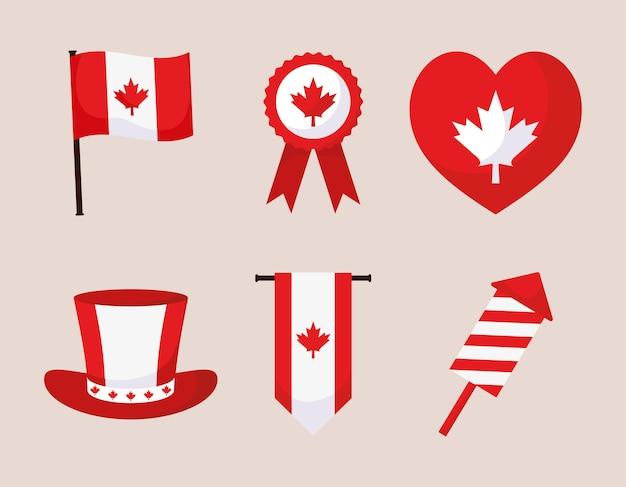 Set van zes canadese dagen
