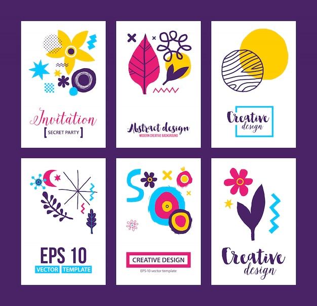 Set van zes creatieve achtergrondsjablonen