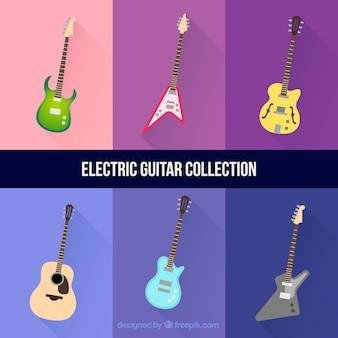 Set van zes elektrische gitaren
