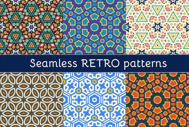 Set van zes etnische naadloze patronen.
