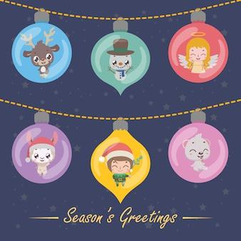 Set van zes feestelijke kerstballen met kerstkarakters