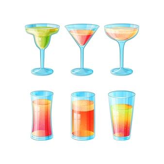Set van zes handgetekende glazen met cocktails met een laag alcoholgehalte