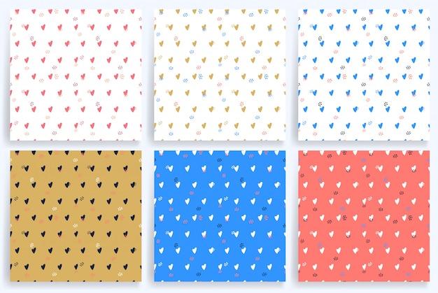 Set van zes hart naadloos patroon.