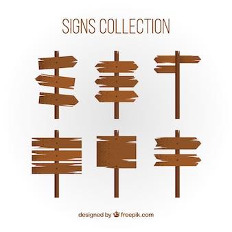 Set van zes houten borden in plat ontwerp