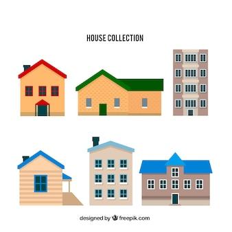 Set van zes huizen