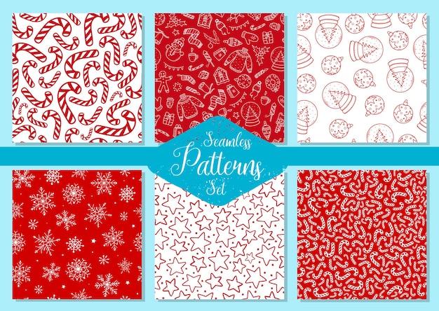 Set van zes kerstmis naadloze patronen