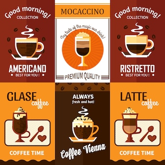 Set van zes koffiebanners