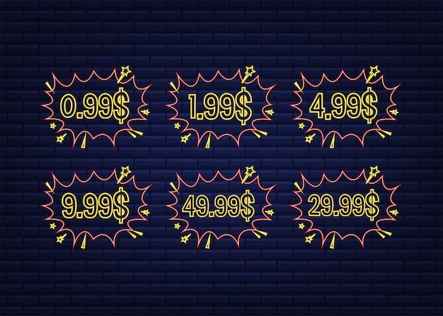 Set van zes kortingsetiketten. pop-art, stripboekenstijl. neon icoon. vector illustratie.