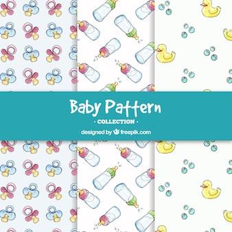 Set van zes moderne baby patronen