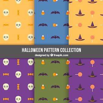 Set van zes patronen met halloween elementen