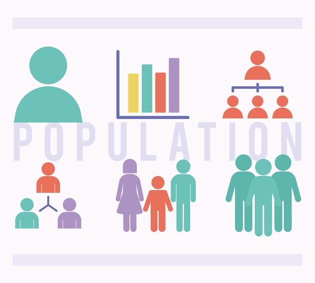 Set van zes populatie-items
