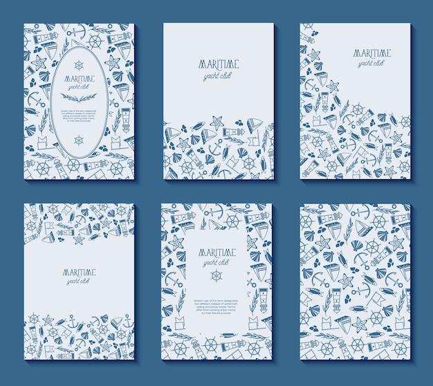 Set van zes poster van de maritieme jachtclub met verschillende lijsten