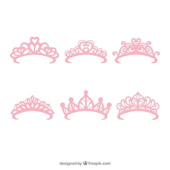 Set van zes prinses roze kronen