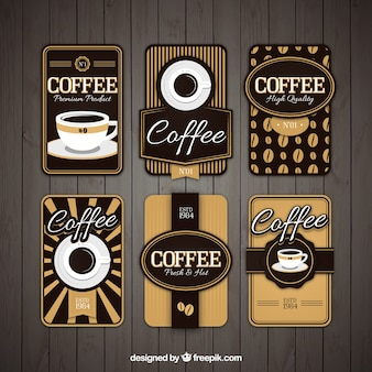 Set van zes retro cafe stickers