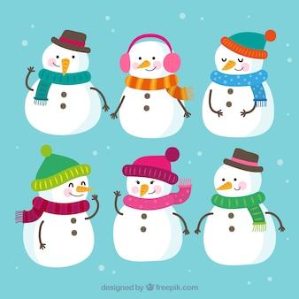 Set van zes sneeuwmannen
