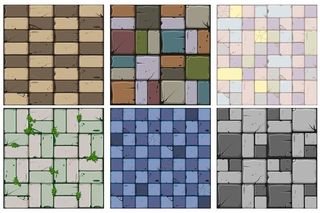 Set van zes stenen texturen van oude stenen tegels