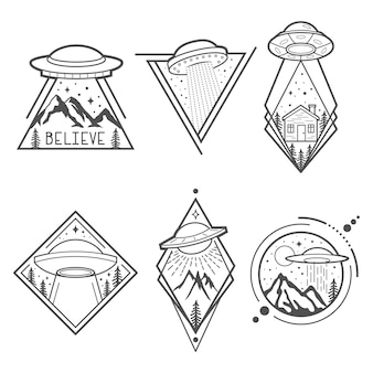 Set van zes ufo-emblemen