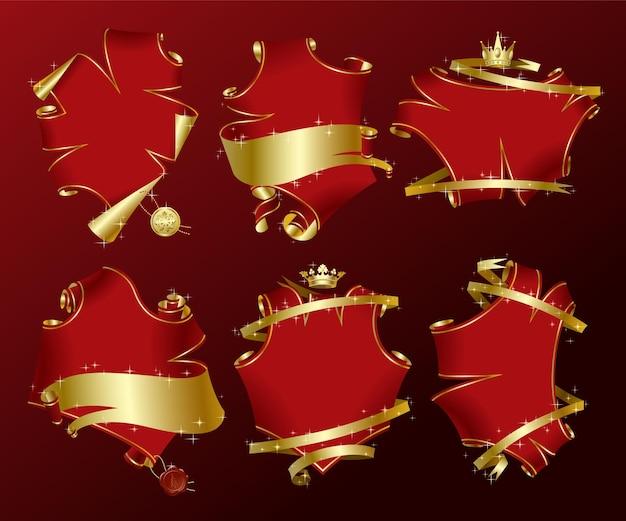 Set van zes vakantie rode perkament-vormige banners met gouden linten in glitters. vector illustratie.