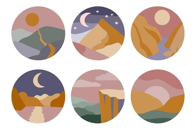 Set van zes verhaalomslagen voor abstracte, minimale kleurrijke landschappen op sociale media