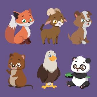 Set van zes verschillende diersoorten