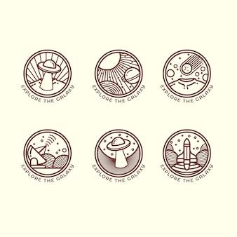 Set van zes verschillende ruimtegerelateerde overzichtsillustraties