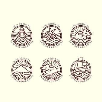 Set van zes verschillende zee- en golven-gerelateerde overzichtsillustraties voor zomerlogo