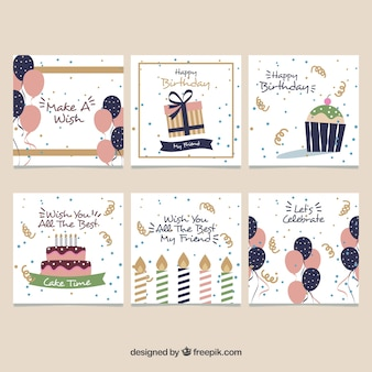 Set van zes vintage verjaardagskaarten