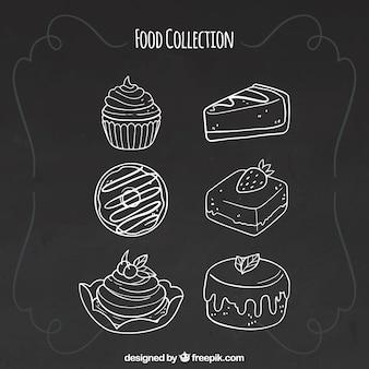Set van zes voedselelementen in schoolbordstijl