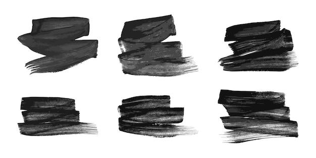 Set van zes zwarte handgetekende inktvlekken. inktvlekken geïsoleerd op een witte achtergrond. vector illustratie