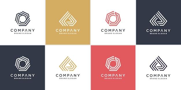 Set van zeshoek en driehoek logo met lijn kunststijl premium vector