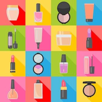 Set van zestien make-up items in vlakke stijl met schaduw. vector illustratie.