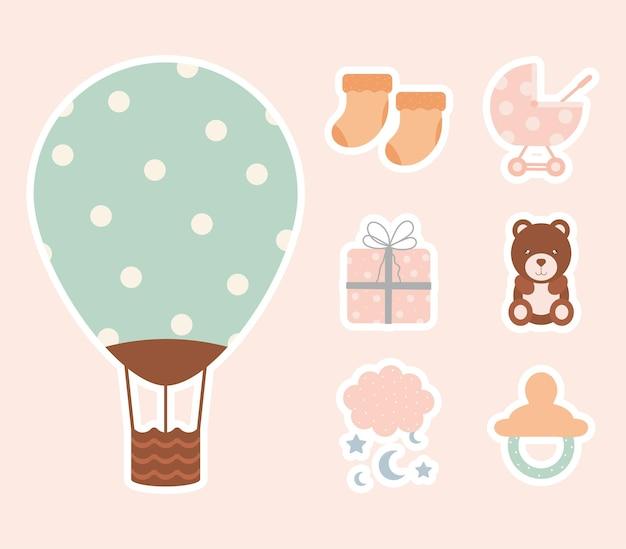 Set van zeven babe iconen
