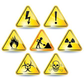 Set van zeven gele waarschuwingsborden