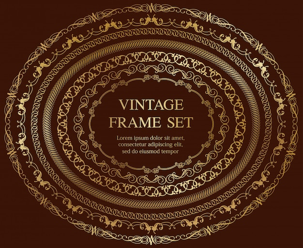 Set van zeven gouden ovale vintage frames geïsoleerd op een donkere achtergrond. illustratie.