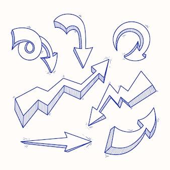 Set van zeven interessante schets blauwe pijlen op een beige achtergrond