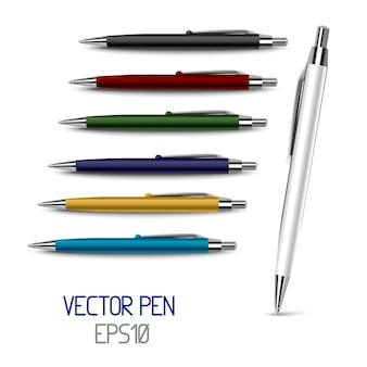 Set van zeven luxe zwarte, rode, blauwe, witte, groene, gouden, zakelijke pennen