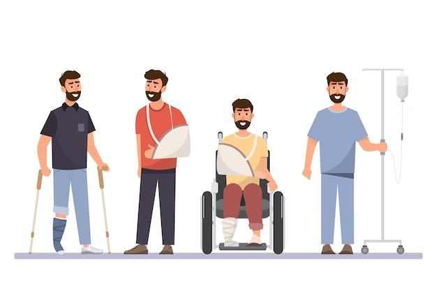 Set van zieke man in ander karakter. illustratie cartoon karakter vlakke stijl