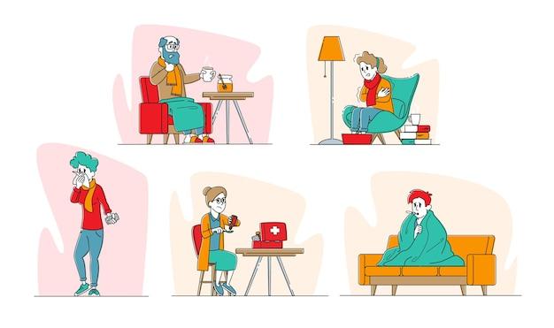 Set van zieke personages gevangen griep met koorts illustratie