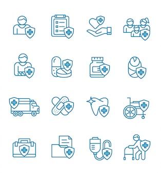 Set van ziektekostenverzekering pictogrammen met kaderstijl.