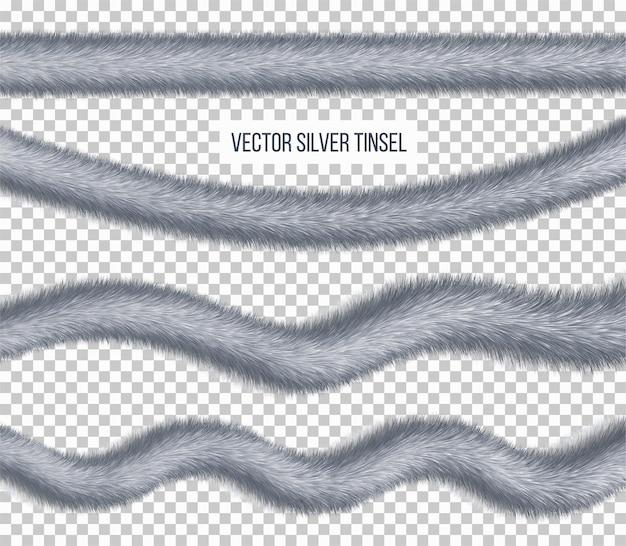 Set van zilver pluizig klatergoud voor het versieren, realistisch kerstslingerelement.