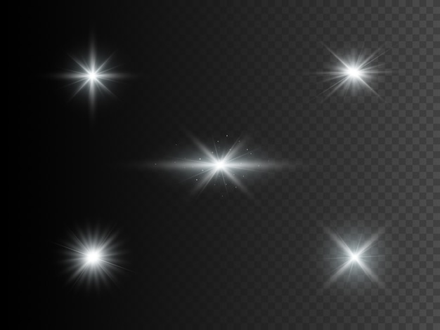 Set van zilveren gloeiende lichten. transparant effect.
