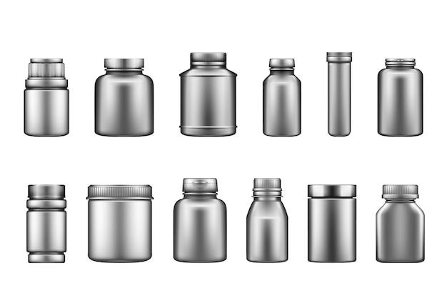 Set van zilveren plastic supplement fles mockups geïsoleerd op een witte achtergrond