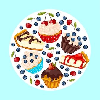 Set van zoet dessert