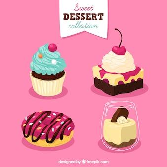 Set van zoete desserts in de hand getrokken stijl