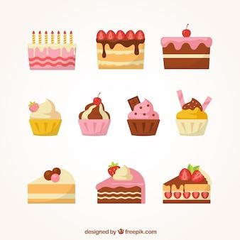 Set van zoete desserts met slagroom en bessen