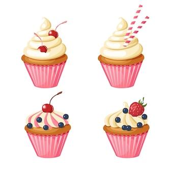 Set van zoete roze cupcakes. gebak versierd met kersen, aardbeien, bosbessen, snoep.