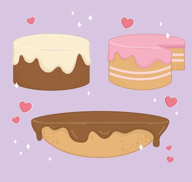 Set van zoete taarten bakkerij pictogrammen