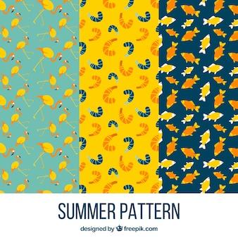 Set van zomer dier patronen