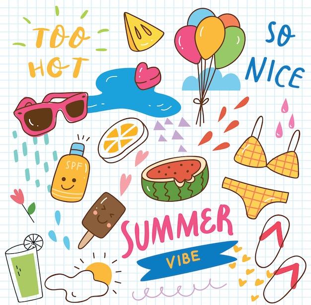 Set van zomer doodle collage